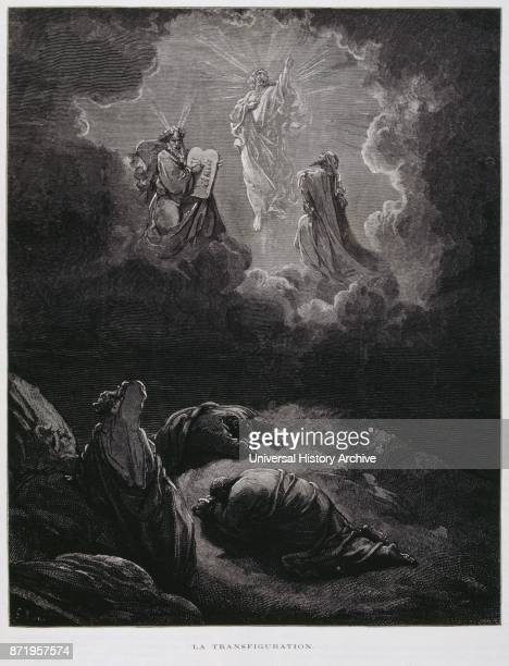 Engraving by Gustave Dor_ The Transfiguration of Jesus is an event reported in the New Testament when Jesus is transfigured and becomes radiant in...