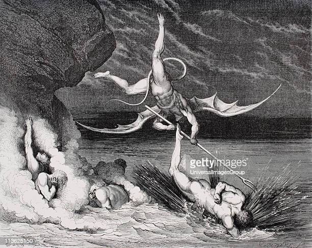 Engraving by Gustave Dore 18321883 French artist and illustrator for Inferno by Dante Alighieri Canto XXII lines 125126