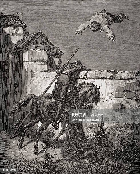 Engraving by Gustave Dore 18321883 French artist and illustrator of Sancho Panza being tossed in a blanket from Don Quixote by Miguel de Cervantes...