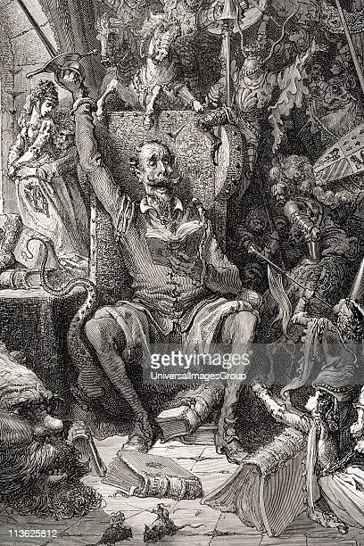 Engraving by Gustave Dore 18321883 French artist and illustrator of Don Quixote amongst his books in his library from Don Quixote by Miguel de...