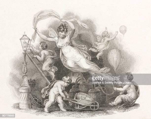 Engraving by H Robinson of an allegorical winged female surrounded by cherubs One cherub pushes a barrow labelled �portable gas� while another uses a...