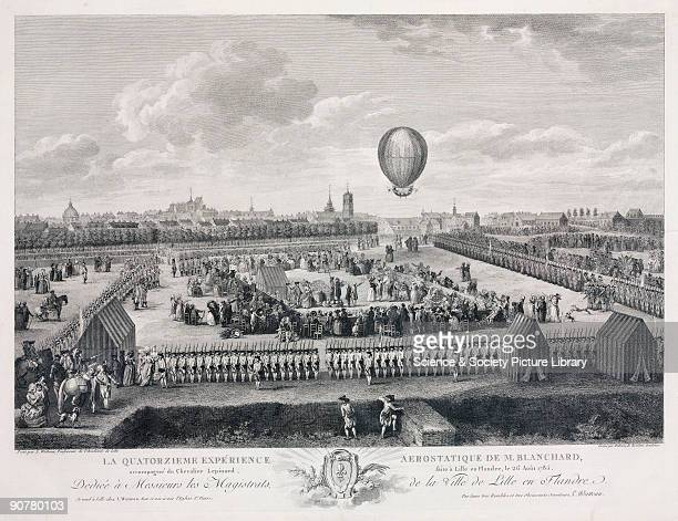 Engraving by Helman after a painting by Louis Joseph Watteau of Lille Academy French aeronaut JeanPierre Blanchard made this balloon ascent from...