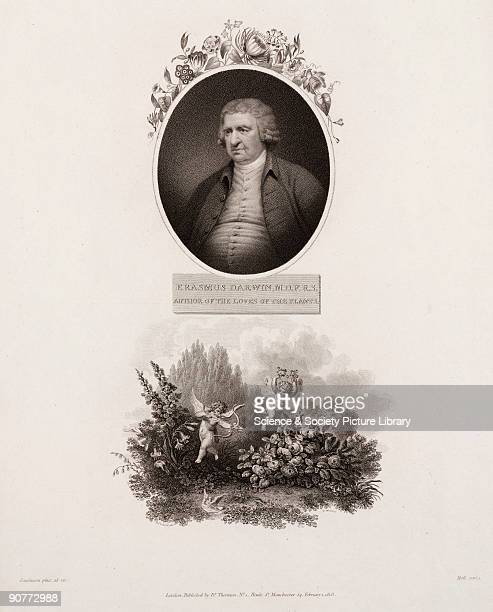 Engraving by Holl made in 1803 after a painting by Rawlinson of Erasmus Darwin Beneath the portrait is a scene showing a pair of doves and two cupids...