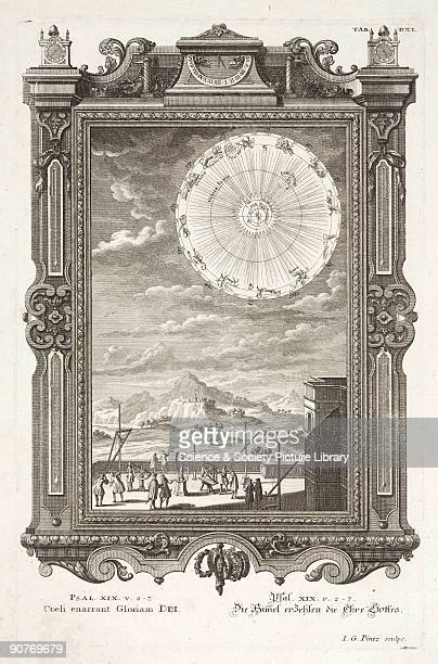Engraving by I G Pints Plate 540 from an illustrated Bible with text in Latin and German showing men using astronomical instruments on a rooftop...