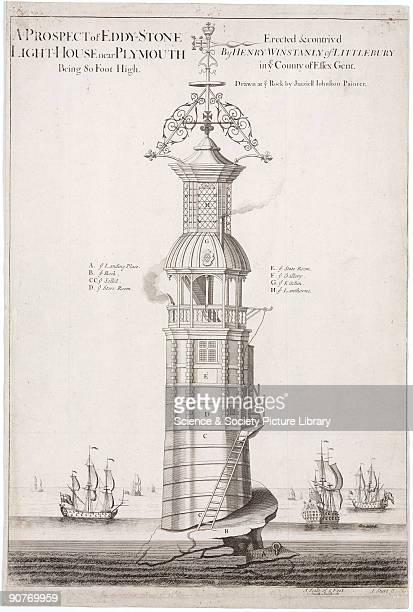 Engraving by I Sturt after a drawing by Jaaziell Johnston, showing the first lighthouse to be built on the notorious Eddystone reef, 14 miles off the...