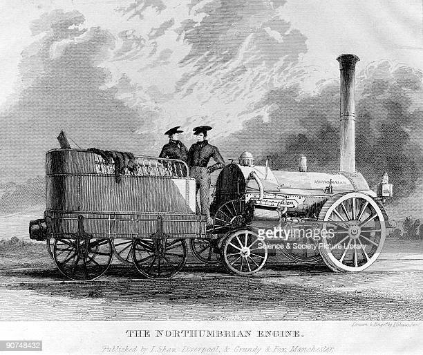 Engraving by Isaac Shaw Junior after his own drawing The 'Northumbrian' built by George and Robert Stephenson in 1830 was an enlarged and modified...