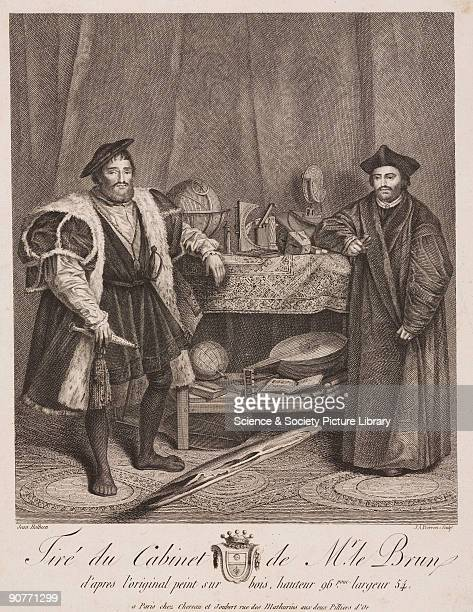 Engraving by J A Pierron after Hans Holbein�s painting of 1533 Jean de Dinteville French ambassador to England and Georges de Selve Bishop of Lavaur...