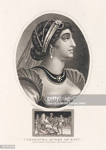 Engraving by J Chapman made in 1804 showing a romanticised 19th century conception of Queen Cleopatra of Egypt Illustration from �Encyclopaedia...