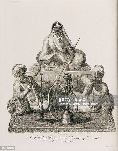 Engraving by J Chapman of a woman and two men with a hookah a water pipe for smoking tobacco or hashish Illustration from �Encyclopaedia Londinensis...