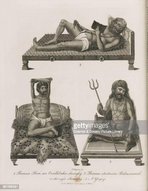 Engraving by J Chapman of �Purana Poori an Oordhbahu Saniassy� �Purrum Soatuntre Perkasanund a Serseja Saniassy� and �A Yogey� [sic] A sannyasi or...