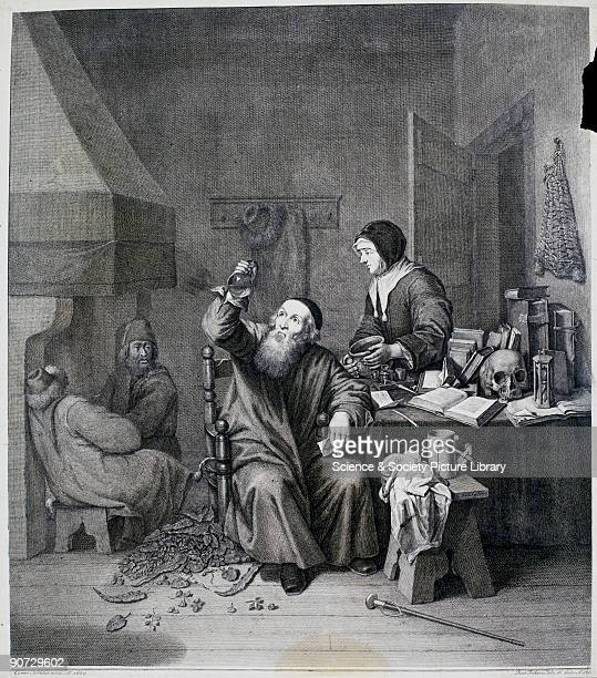 Engraving by J Falkema after an original painting by Caspar Netscher of 1659 showing a physician seated in his laboratory examining a urine flask A...