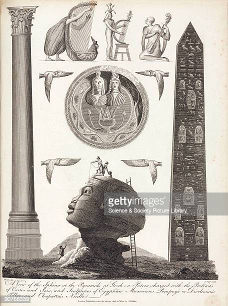 Engraving by J Pass after Denon showing Ancient Egyptian artifacts At the top are sculptures of musicians playing harps and other stringed...