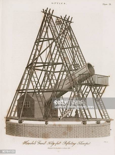 Engraving by J Pass of William Herschel�s 40-foot telescope in Slough, Berkshire, assembled in 1787 and dismantled in 1839. The massive reflecting...