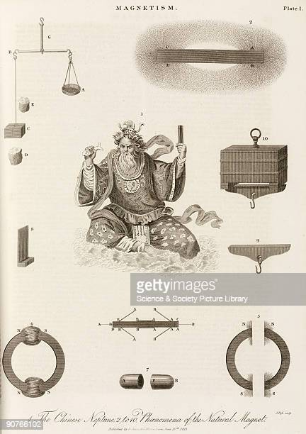 Engraving by J Pass showing a Chinese deity, and apparatus used to demonstrate magnetism. When iron filings are placed near a magnet they become...