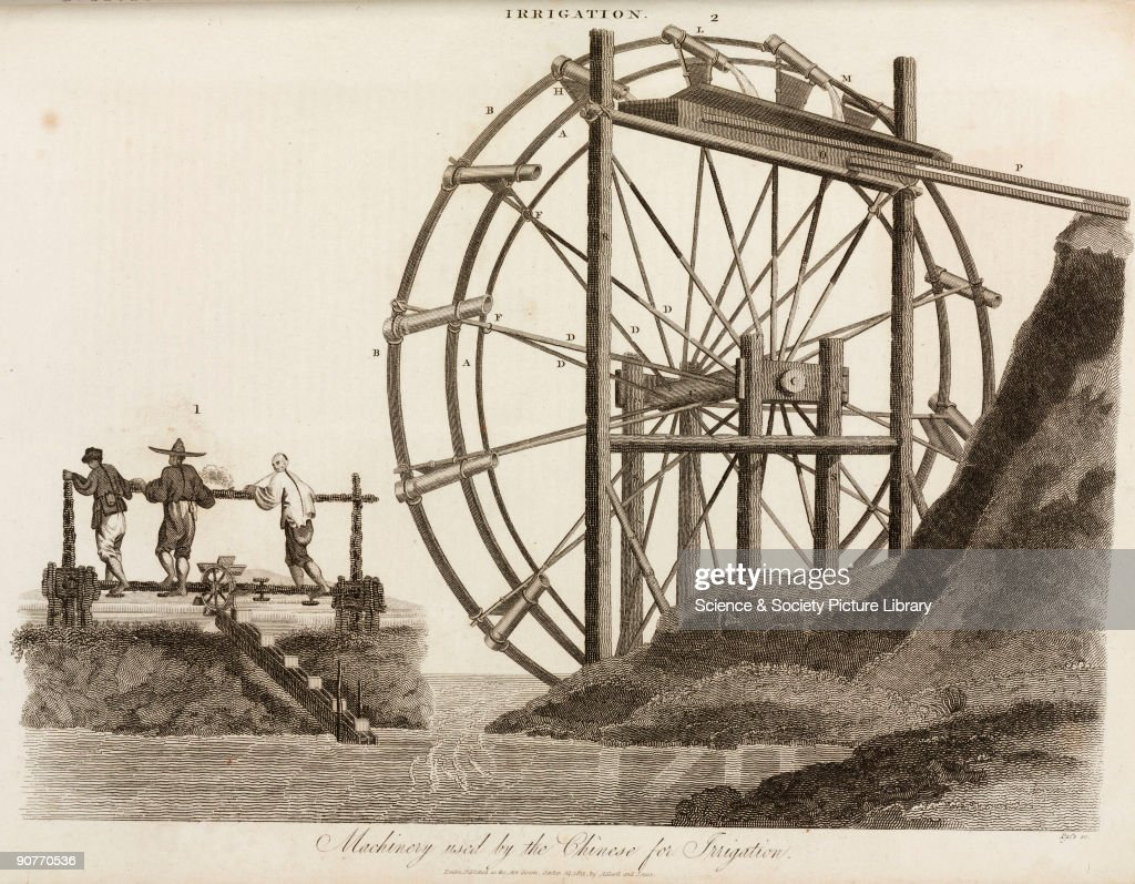 �Machinery used by the Chinese for Irrigation�, 1811. : ニュース写真