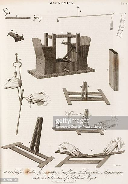 Engraving by J Pass showing �Ross�s Machine for separating Iron-filings� ; �Lampadius�s Magnetometer� ; and �Fabrication of Artificial Magnets� ....