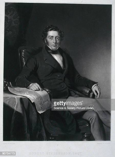Engraving by J R Jackson after a painting by John Lucas of Robert Stephenson English engineer and the son of George Stephenson whom he assisted with...