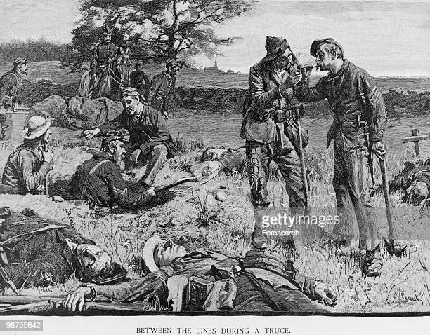 Engraving by J W Evans after Gilbert Gaul captioned 'Between The Lines During a Truce' depicting Union and Confederate soldiers meeting together...