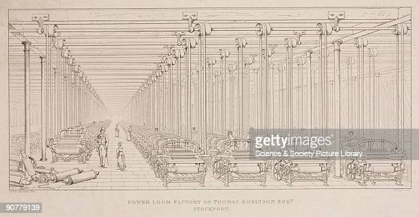 Engraving by J W Lowry after a drawing by James Nasmyth showing a view of the factory interior with five rows of about 100 power looms using overhead...