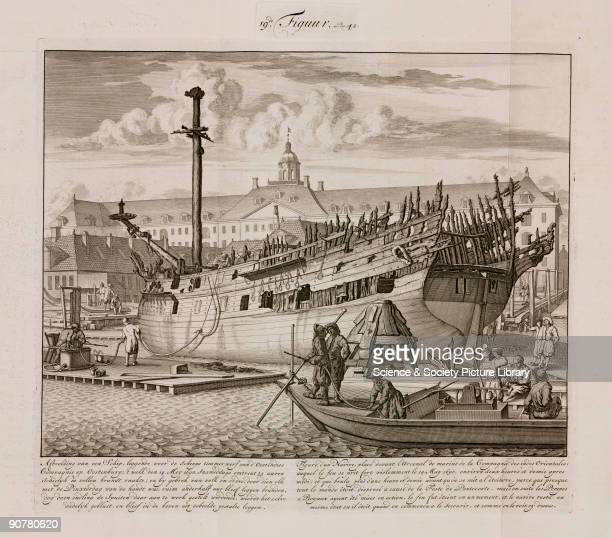 Engraving by Jan van der Heiden of a ship at the East India Company shipyard The ship burst into flames on Whitsunday 14 May 1690 Being a holiday it...