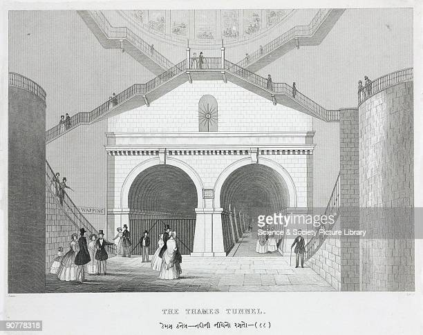 Engraving by Lacey after an original drawing by Jones showing the entrance to the Thames Tunnel seen from one of the spiral staircases built at...