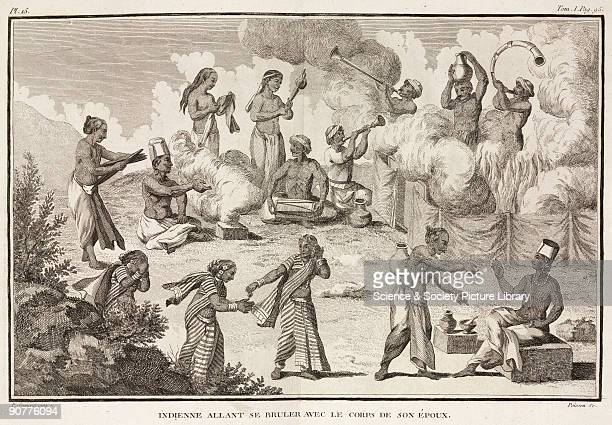 Engraving by Poisson after a painting by Pierre Sonnerat showing the custom of Suttee or Sati Abolished by law in British India in 1829 the practice...
