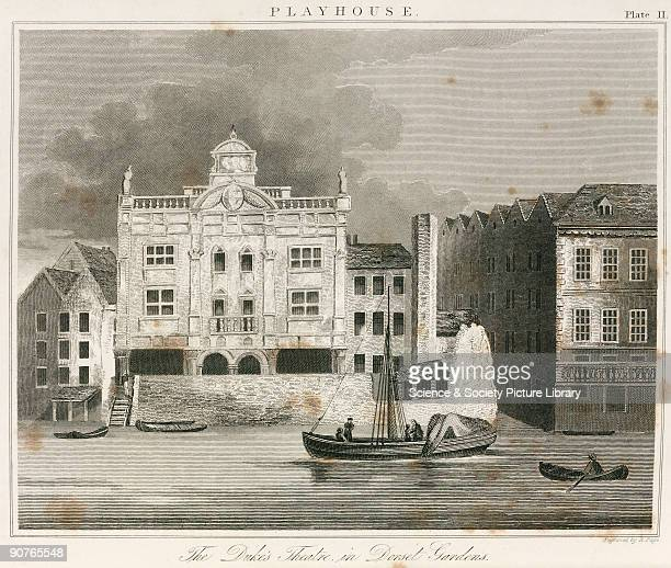 Engraving by R Page published in about 1820, of the Dorset Garden Theatre , designed by Christopher Wren and opened in 1671. The theatre was built...