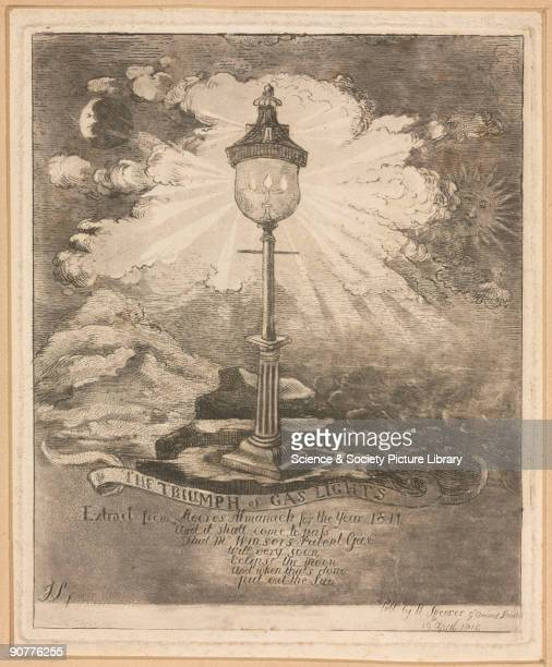 Engraving by R Spencer published by R Spencer 19 April 1810 Under the illustration of a great gas street light shining brightly in the sky is a poem...