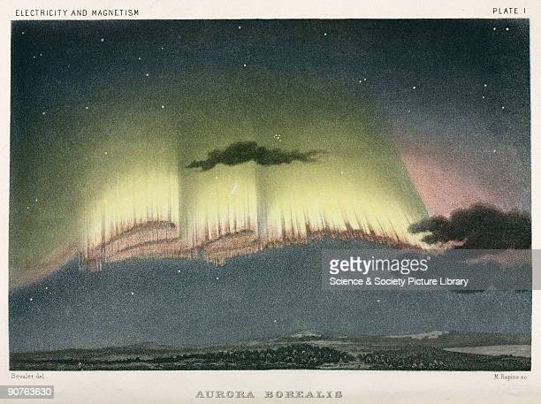 Engraving by Rapine after Bevalet of an Aurora Borealis observed at Bossekop on 19 January 1839 Illustration from �Electricity and Magnetism� by...