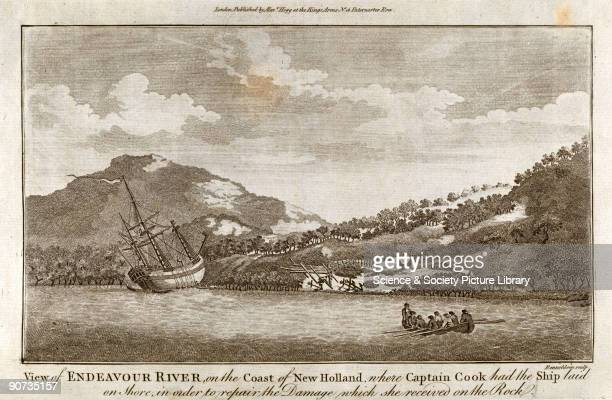 Engraving by Rennoldson of Captain Cook's ship Endeavour laid on the shoreline of New Holland for hull repairs during Cook's first voyage to the...