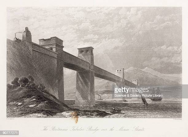 Engraving by S Bradshaw after an original by G Dodgson The Britannia Tubular Bridge was designed by Robert Stephenson and was completed in 1850 It...