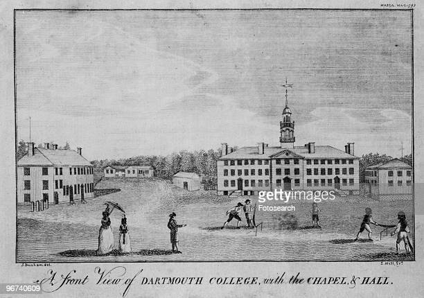 Engraving by Samuel Hill after a drawing by J Dunham from the Massachusetts Magazine showing cricket on the Dartmouth Campus with the caption 'A...