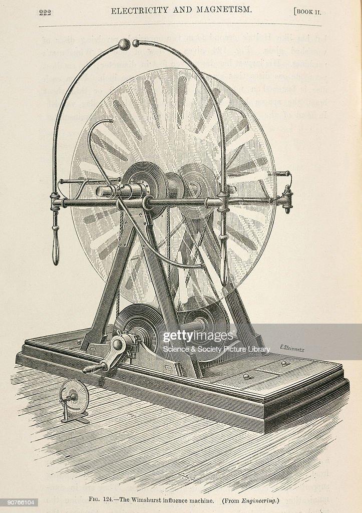 The Wimshurst influence machine, 1891. : News Photo