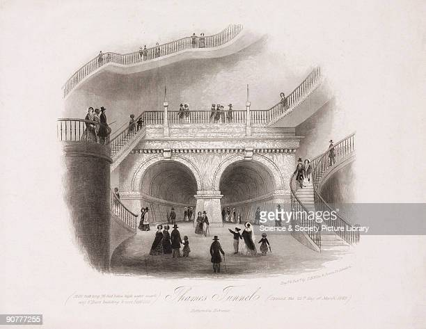 Engraving by T H Ellis showing the entrance to the Thames Tunnel and the spiral staircase leading to it Sir Marc Isambard Brunel engineer and...