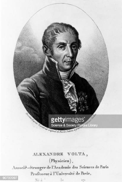 Engraving by Tardieu after Bettoni. Volta was the inventor of the voltaic pile, an early battery and the first source of current electricity. This...
