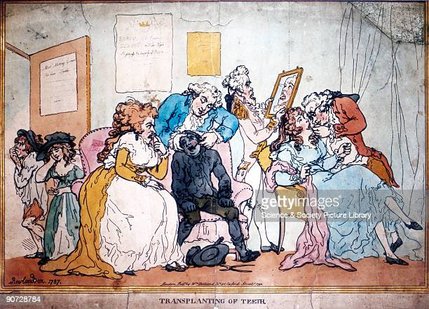 Engraving by Thomas Rowlandson ridiculing the fashion for tooth transplantation from living donors that was in vogue in the late 18th century...
