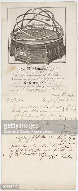 Engraving by Thorongood of �The Orrery� by Cole and Son on a letterhead and bill for mathematical and optical instrument maker Benjamin Cole and Son...