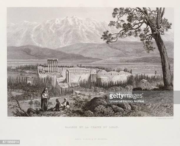 Engraving by Victor Gu_rin depicting the Greek Temple of Helios at Baalbek Lebanon 1875