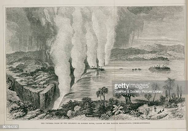 Engraving by Whymper of the Leeambye or Zambesi River �called by the Natives Musyoatunya � In 1855 Scottish missionary Dr David Livingstone first saw...