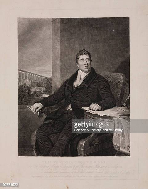 Engraving by William Raddon c 1831 after an original painting by Samuel Lane c 1810 Thomas Telford Scottish engineer was responsible for some of the...