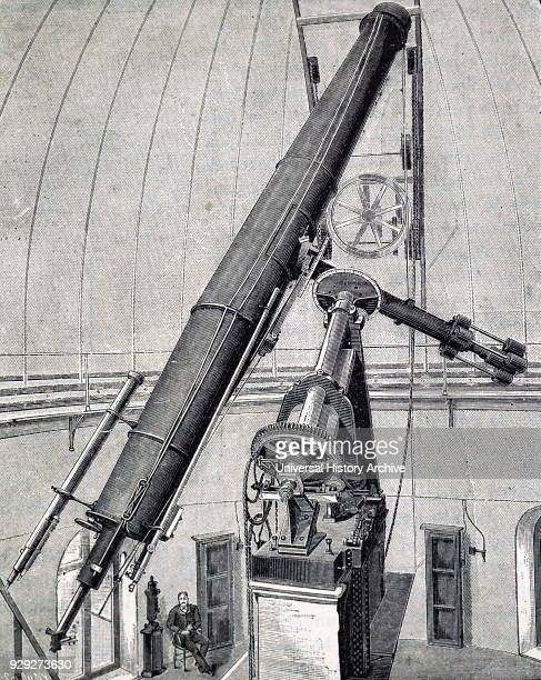 Engraving depicting a 23inch refractor built by Alvan Clark an American astronomer and telescope maker Dated 19th Century
