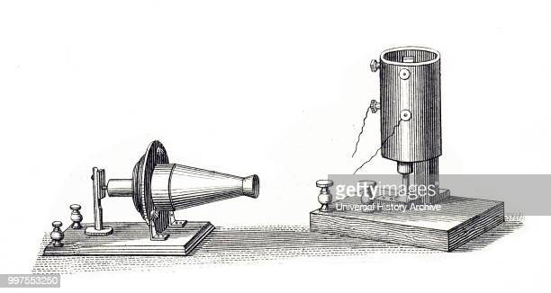 Engraving depicting a Bell telephone invented by Alexander Graham Bell Alexander Graham Bell a Scottishborn scientist inventor engineer and innovator...