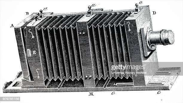 Engraving depicting a bellows camera a bellows is the accordionlike pleated expandable part of a camera usually a large or medium format camera to...