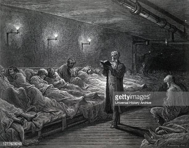 Engraving depicting a bible reader in the men's dormitory at the Cow Cross Mission's night refuge near Smithfield Note fishtale gas jets were used...