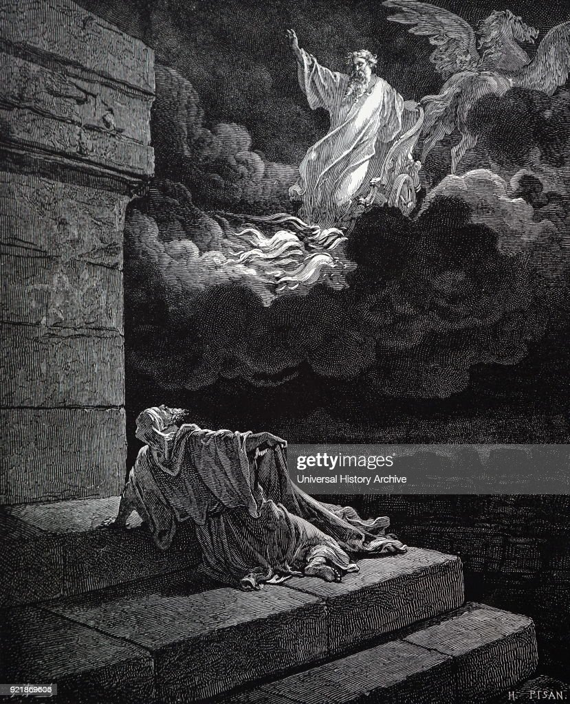 Engraving depicting a biblical scene. Elisha is seen watching Elijah being taken up to heaven in a fiery chariot leaving his divided garment on the ground. Illustration by Gustave Dore (1832-1883) a French artist, printmaker, illustrator and sculptor. Dated 19th century.