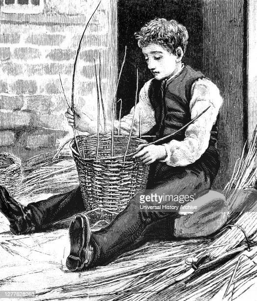 Engraving depicting a blind boy making a basket from osiers