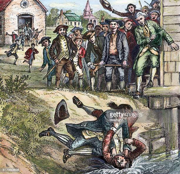 Engraving depicting a brawl between a Massachusetts government supporter and a rebel during Shays's Rebellion Undated color illustration