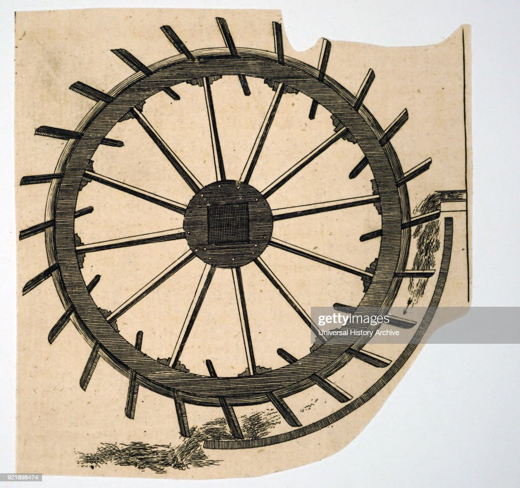 Engraving depicting a breast wheel. Dated 19th century.