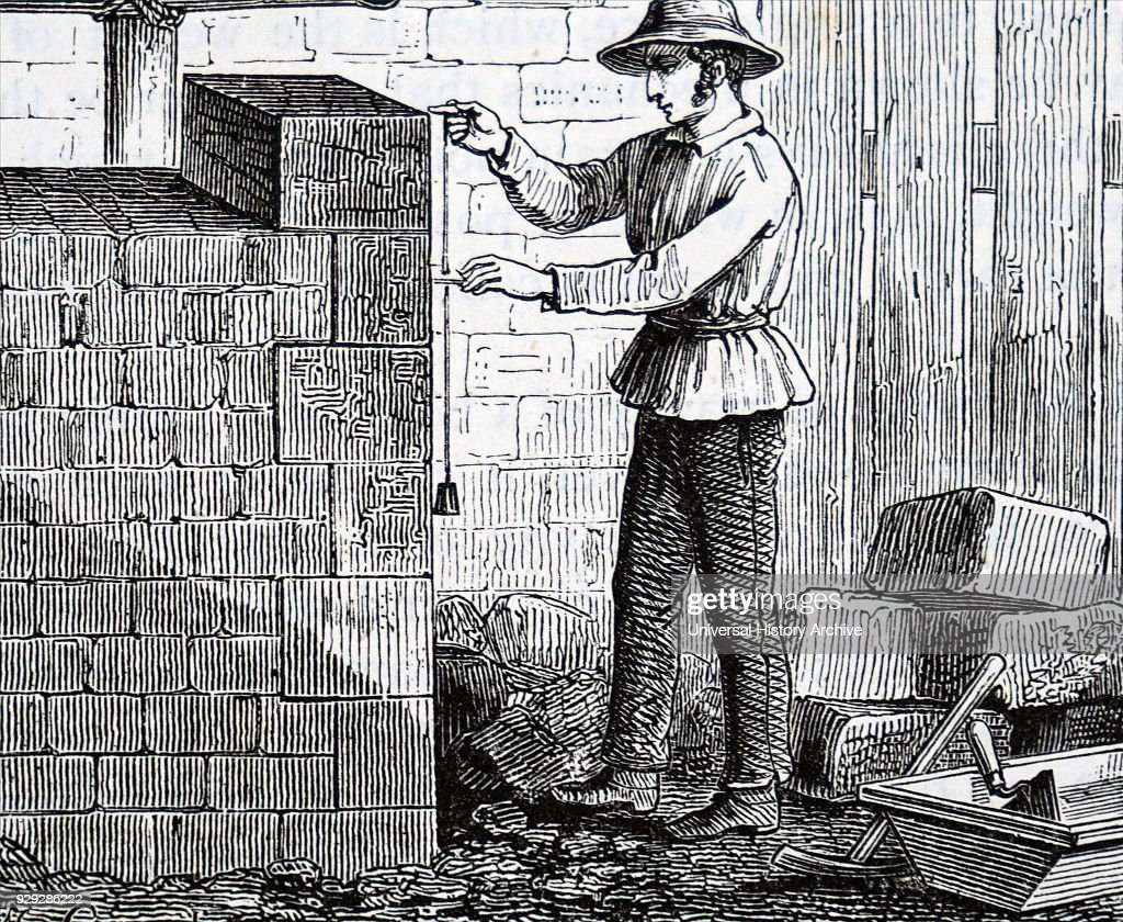 Engraving Depicting A Builder Using A Plumb Line To Keep A Walk