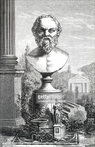 Engraving depicting a bust of Socrates a classical Greek philosopher credited as one of the founders of Western philosophy and is known as the first...